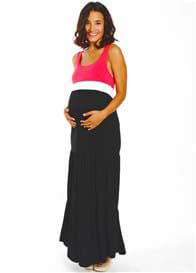 Queen Bee Ellis Colorblock Maternity Maxi Dress in Coral/Black by Everly Grey