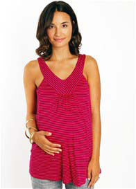 Queen Bee Tula Spring Maternity Tank Top in Fuchsia Stripe by Everly Grey