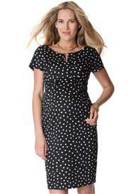 Queen Bee Cotton Sateen Maternity Dress in Black Polkadot by Seraphine