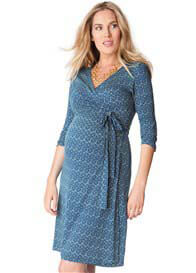 Queen Bee Mosaic Blue Print Wrap Maternity Dress by Seraphine