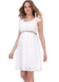 Queen Bee Pretty Lace Maternity Dress in Off-White by Seraphine