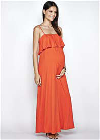 Queen Bee Bella Maternity Maxi Dress in Tangerine Orange by Imanimo