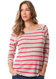 Queen Bee Linen Pink Striped Maternity Nursing Knit Jumper by Seraphine