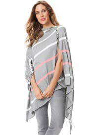 Queen Bee Breastfeeding Bamboo Shawl in Grey Stripes by Seraphine