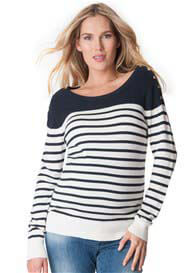 Queen Bee Blue Breton Striped Maternity Nursing Knit Jumper by Seraphine