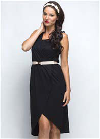 Queen Bee Missy Breastfeeding Wrap Dress in Black by Milky Way