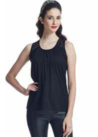 Queen Bee Festive Nursing Tank Top in Black by Milky Way