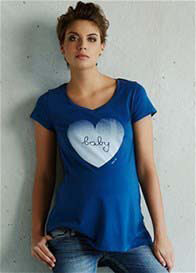 Queen Bee Baby Love Maternity T-Shirt in Blue by Queen mum