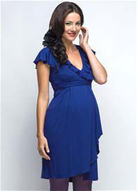 Queen Bee Blue Waterfall Maternity/Nursing Dress by Milky Way