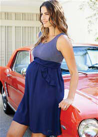 Queen Bee Ruffle Pocket Maternity Dress in Navy Blue by Maternal America
