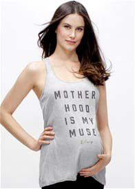 Queen Bee Motherhood Is My Muse Maternity Racerback Tank in Grey by Blanqi