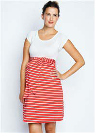 Queen Bee Front Tie Maternity Dress in Red Stripe by Maternal America