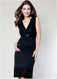 Queen Bee Twilight Black Lace Maternity Dress by Tiffany Rose