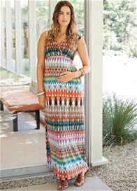 Queen Bee Sunset Print Maternity Maxi Dress by Maternal America