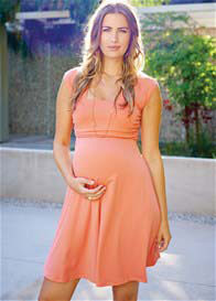 Queen Bee Mini Sweetheart Maternity Dress in Coral by Maternal America