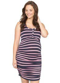 Queen Bee Maternity Nusing Tank Dress in Pink Stripes by NOM