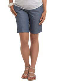 Queen Bee Blue Tailored Cotton Linen Maternity Shorts by Esprit