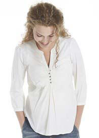 Queen Bee Cotton Maternity Blouse in Off-White by Queen mum