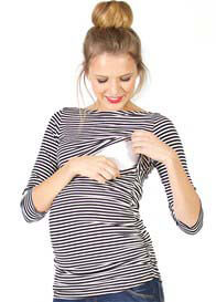 Queen Bee Reese Boat Neck Nursing Top in Black Stripes by Quack Nursingwear