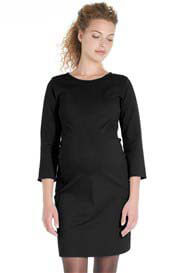 Queen Bee Side Panel Ponte Maternity Shift Dress in Black by Queen mum