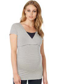 Queen Bee Dolores Maternity Nursing Top in Dark Blue Stripe by Noppies