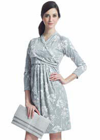 Queen Bee Grey Floral Print Kimono Wrap Front Nursing Dress by Milky Way