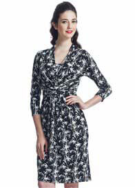 Queen Bee Black Bamboo Print Nursing Dress by Milky Way Nursingwear