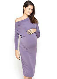 Queen Bee Genna Cowl Neck Maternity Dress in Purple by Imanimo