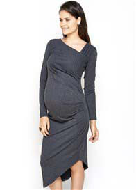Queen Bee Karina Asymmetrical Maternity Dress in Charcoal by Imanimo
