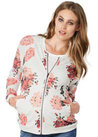 Queen Bee White Floral Print Maternity Bomber Jacket by Noppies
