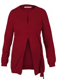 Queen Bee Cotton Maternity Knit Cardigan in Red by Queen mum