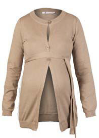 Queen Bee Cotton Maternity Knit Cardigan in Camel by Queen mum