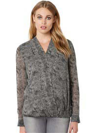 Queen Bee Nuara Grey Print Long Sleeve Maternity Blouse by Noppies