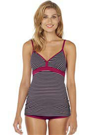 Queen Bee Koka Yoki Maternity Tankini Swimsuit in Brown Stripe by Esprit