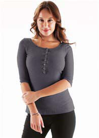 Queen Bee Ines Breastfeeding Henley in Faded Black by Trimester Clothing