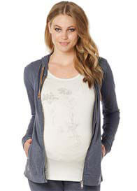 Queen Bee Emmy Maternity Zip Hoodie in Shadow Grey by Noppies