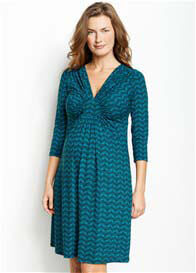Queen Bee Circle Ruche Maternity Dress in Aqua Print by Maternal America