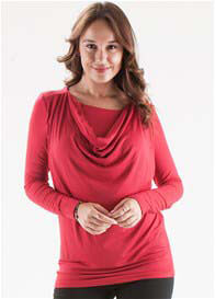 Queen Bee Joyanna Cowl Neck Maternity Nursing Top in Red by Floressa