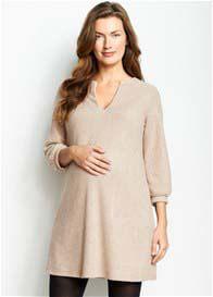 Queen Bee Textured Maternity Shift Dress in Camel by Maternal America