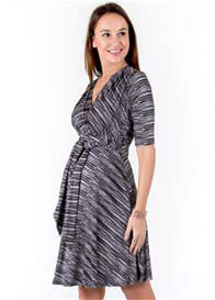 Queen Bee Front Tie Maternity Dress in Black Space Dye by Maternal America