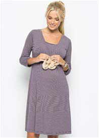 Queen Bee Purple Stripe Maternity Nursing Nightdress by Amoralia