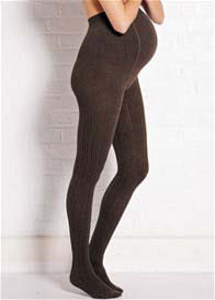 Queen Bee Cable Knit Maternity Tights in Dark Brown by Noppies