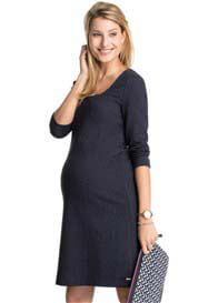 Queen Bee Boucle-Textured Maternity Shift Dress in Navy by Esprit