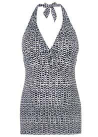 Navy Spotted Halterneck Maternity Tankini Swimsuit By