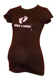 Queen Bee Whats Kickin Brown Maternity Tee w Pink Writing by 2 chix