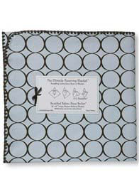 Queen Bee Swaddling Blanket in Blue Circles by Swaddle Designs