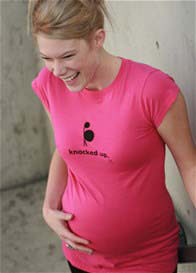 Queen Bee Knocked Up Maternity Tee in Hot Pink by 2 chix