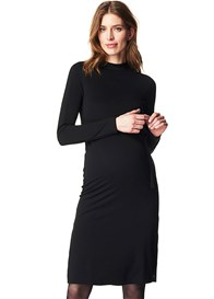 Esprit - Black Side Split Midi Dress