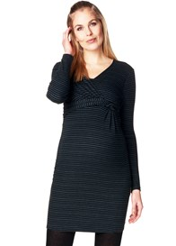 Esprit - Faux Wrap Striped Nursing Dress - ON SALE