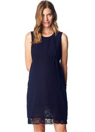 Esprit - Lace Hem Chiffon Dress in Night Blue